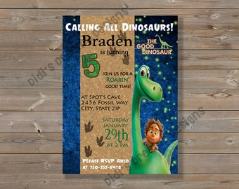 The Good Dinosaur Birthday Party Invitation and Matching Thank You Card, Spot, Arlo,  Digital file or Printed Options