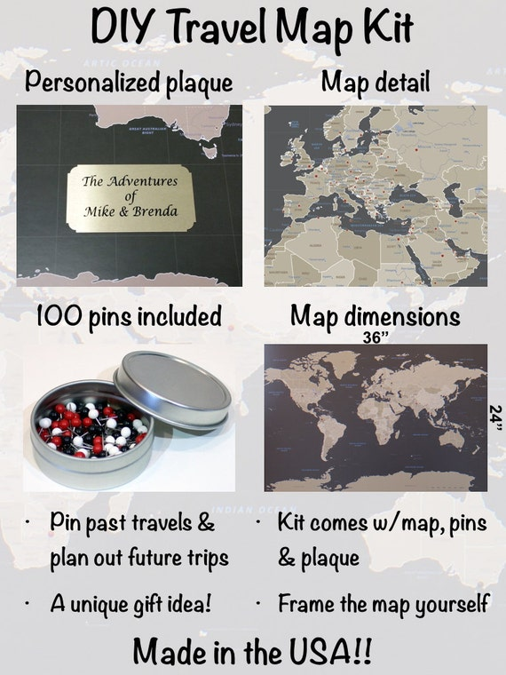 Diy earth toned world push pin travel map kit with 100 pins diy earth toned world push pin travel map kit with 100 pins 24 x 36 unique newlywed gift idea push pin travel map gumiabroncs Gallery