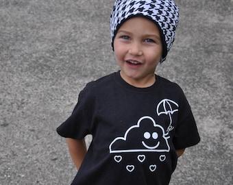 Cloud shirt, kids shirt, happy cloud, umbrella shirt, rain shirt, raining cloud, heart shirt, sunshine after the rain, heart tee, cute shirt