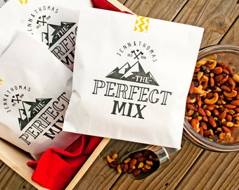 Trail Mix  Wedding Favor Bags - The Perfect Mix - Personalized, White Wax Lined Favor Bag - Mountain Lovers - 20 White Favor Bags included
