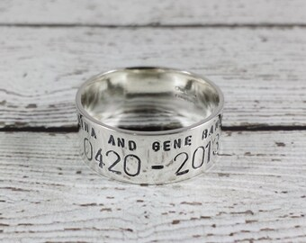 Custom 14k White Gold Duck Band Ring - Personalized Wedding Band - Anniversary -  Gold Bird Band Wedding Ring