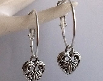 Filigree Heart Earrings , Heart Hoop Earrings , 20mm Hoops , Romantic , Silver Earrings , Hoop Earrings , Hinged Hoop , Girlfriend Gift