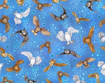 Spellbound Wizard Fabric  Wizard Owls On Blue Cotton Woven Fabric by Dan Morris Quilting Treasures