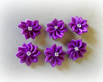 6 appliques 25 mm purple satin ribbon flower
