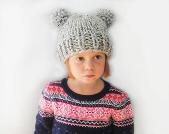 Double Pompom Hat - Chunky Knit Photo Prop - Newborn, Baby, Child