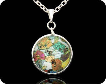 Scottish Geology Pendant - Science Jewellery - Peridotite from Ardnamurchan rock thin section - Geology Jewellery - Geologist Gift - (P42)