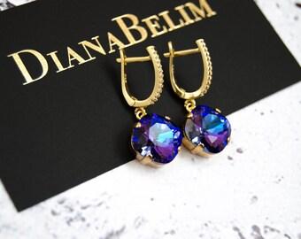 NEW Heliotrope Swarovski Crystal Earrings, Crystal Earrings, Swarovski Earrings, Gift for Her, Gift for women, Teardrop Earrings, FREE S&H