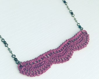 Addison Crochet Necklace in Purple, Statment Necklace, Crochet Lace, Gift Under 50, Teen Gift, Violet, Layering Necklace, Bohemian, Light