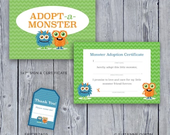 Instant Download • Adopt A Monster Boys Birthday Party Kit • Printable Adopt-a-Monster Sign • Adoption Certificate • Cute Monster Decoration