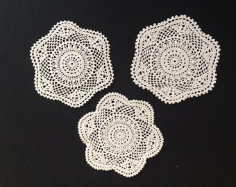 Set of 3 Small White Round Vintage  Lace Doilies. Crocheted Drink Coaster Size White Lace Doilies. RBT1299