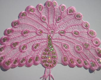 """great piece to stick fusible """"Peacock"""" pink 23x18cm (PV56)"""