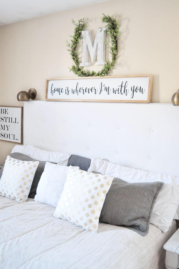 Home Is Wherever I'm With You   Wood Sign   Bedroom   Couple   Wedding   Anniversary   Home   Sign   Home Decor   Framed   Script   Lettered