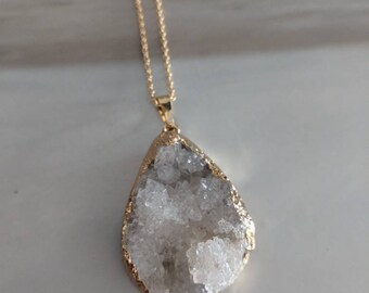 White Agate Geode Crystal Necklace