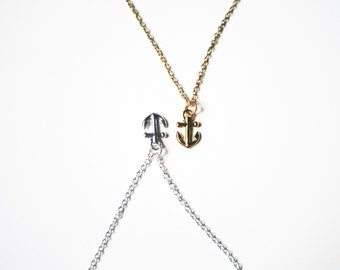 "Ahoy (GOLD) necklace - a dainty bright brass anchor on a 16"" satellite chain"