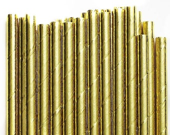 Paper Straws Box of 144 Metallic Gold Foil