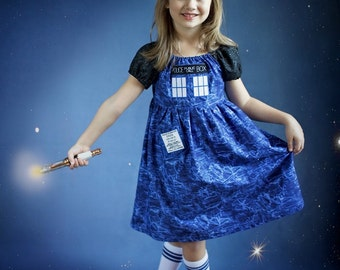 Doctor Who inspired TARDIS dress, Blue Box, Police Box Dress, Dr Who dress, Whovian dress,
