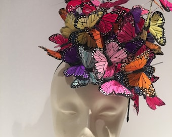 Butterfly Fascinator- Fascinators NYC- Butterfly Headdress -Derby- Spring Fascinator- Derby Hat- Tea Party Hat- Match- Monarch butterfly