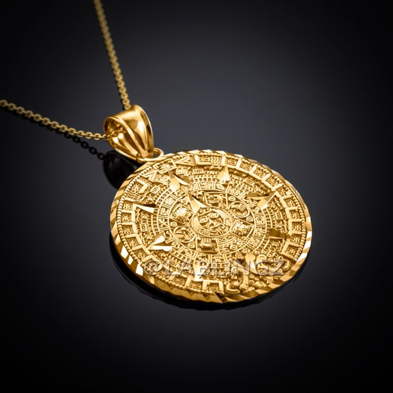 10k gold aztec mayan sun calendar pendant necklace yellow aloadofball Image collections