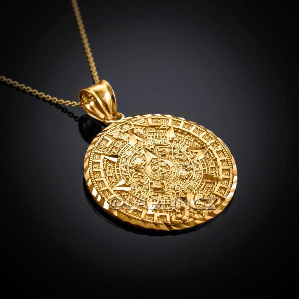 10k gold aztec mayan sun calendar pendant necklace yellow zoom aloadofball Images