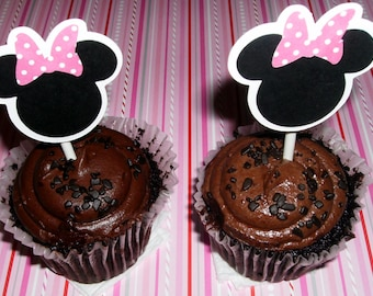 12 Minnie Mouse Cupcake Toppers ~ pink polka dots (234C)