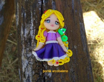 Rapunzel  Necklace/ fan art Disney/ princess/ clay/ doll/ handmade/ polymer clay/ gift/ collection