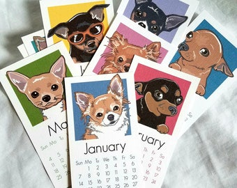 2018 Chihuahua Calendar - Printed on Recycled Linen Paper