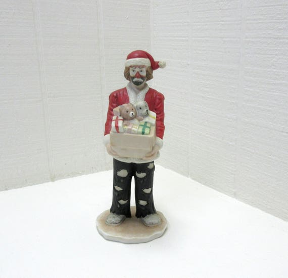 Vintage Emmett Kelly Jr. Clown Figurine Christmas Santa