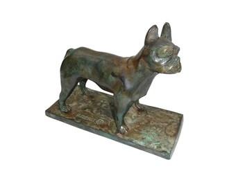 Antique Bronze French Bulldog Statue Signed P Chenet