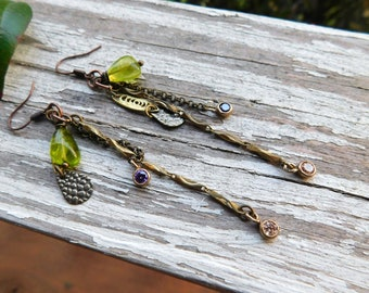 Ivy and Old Lace. Green Peridot, Tiny frame Amethyst & Citrine Brass Lace diamonds, hammered brass teardrops and chain Boho earrings