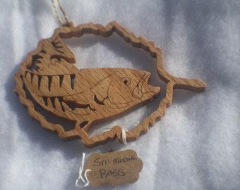 Fishing Art, Handmade Wood Ornament , Fishing, Small Mouth Bass, Fathers Day, Gift for Fisherman, Scroll Saw Art, Fish Art, Wood Ornament