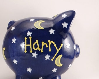 Night Sky Piggy Bank - Personalized Piggy Bank - Starry Night Piggy Bank - Outer Space Theme - Wizard Piggy Bank - with hole or NO hole