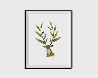 Watercolor Deer - Printable/Downloadable