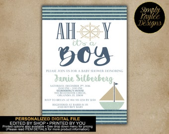 Ahoy, It's A Boy! Nautical Baby Shower Invitation