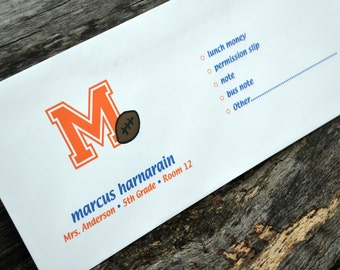 Personalized School Money Envelope for Money and Notes - Sports Design - Personalized School Envelopes - Boys Football