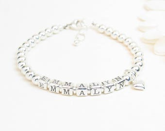Silver Baby Name Bracelet - Personalized Newborn Infant Baby Little Girl Bracelet - Baptism Christening Bracelet - Girl Baptism Gift
