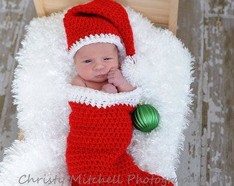 PATTERN Christmas Stocking and Santa Hat - Crochet