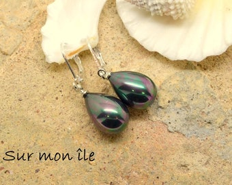 lever back earrings Teardrop black green silver