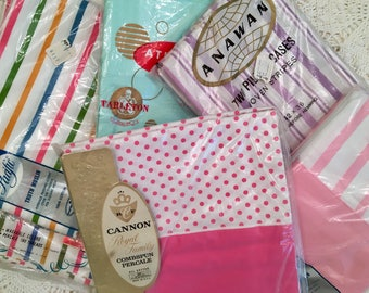NOS Pillowcases - Your Choice - Stripes -Polka Dots - All Cotton - Percale Muslin - Unused Vintage Bedding - Cannon Pacific Truth