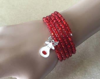 Ruby Red Wrapped Bangle Bracelet w/Glitter Reindeer Charm, Bangle, Bracelets, Christmas Bracelet
