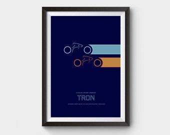 Tron - A3 movie poster, film poster, minimalist movie poster, retro print, retro home, art print, tron legacy, grid, typography, tron poster