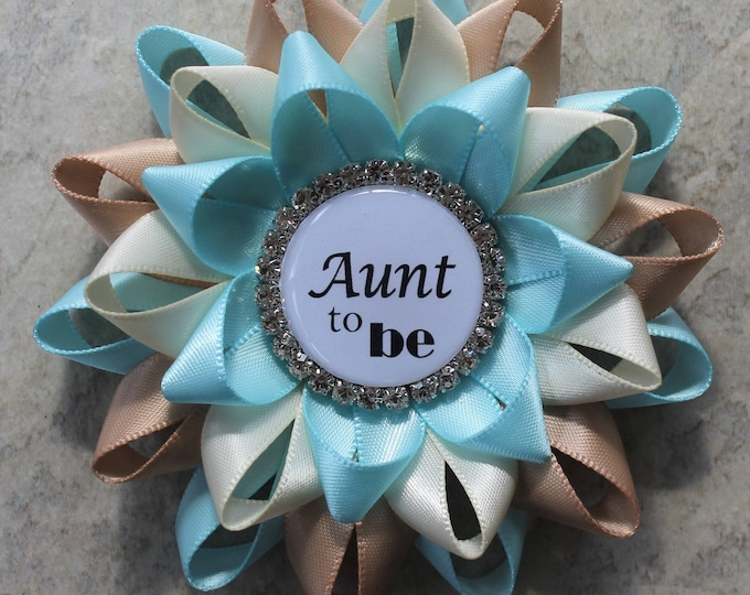 New Aunt Gift, Aunt to Be Pin, Auntie to Be Gift, Boy Baby Shower Pins, New Mom Gift, Aqua Blue, Ivory, Champagne Baby Shower Decorations