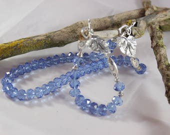 beautiful set of silver plated evening and Blue Crystal beads, 48 cm