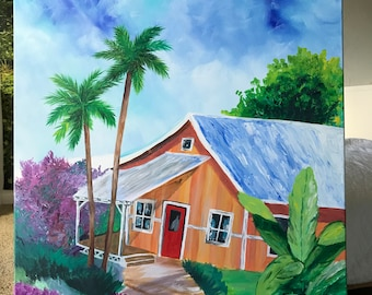 Beach Bungalow Painting // Tropical Painting // Beach House Decor