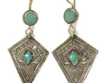Earrings Silver Turquoise Insets Afghanistan 113262