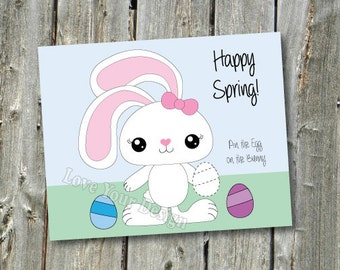 Rabbit Pin the Easter Egg on the Easter Bunny Game INSTANT DOWNLOAD  You PRINT