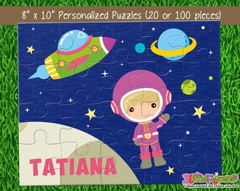 Astronaut Puzzle - Personalized 8 x 10 Puzzle - Personalized Name Puzzle - Personalized Children Puzzle - 20 pieces Puzzle - Outer Space