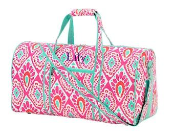 Girls Personalized Gym Bag, Pink Diamond Overnight Duffel Bag, Monogrammed Duffle Travel Bag, Weekend Tote Bag, Girl Personalized Dance Bag