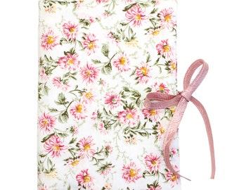 Protège carnet de santé - Coton fleuri et Lin rose