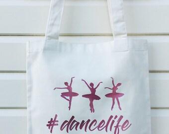 CUSTOM Dancelife, Add Any Name, Canvas Tote Bag, dance bag, beach bag, market bag, gym bag, ladies, girls, stocking filler, xmas present