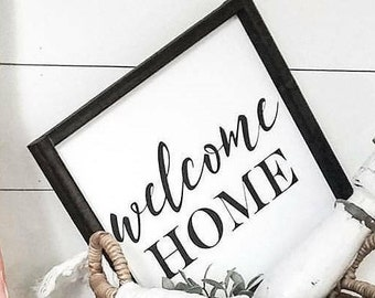Welcome Home Sign, Farmhouse decor, Farmhouse sign, rustic wall decor, front door sign, wood sign, home sign